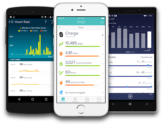 A picture of an android, iOS, and Windows phone, all running the Fitbit app